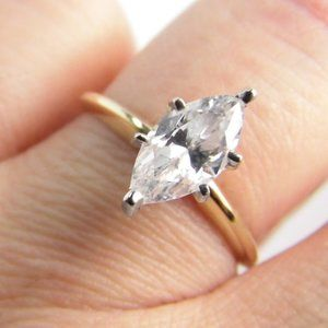 Solitaire 10K GOLD Marquise 1.50 CT Ring
